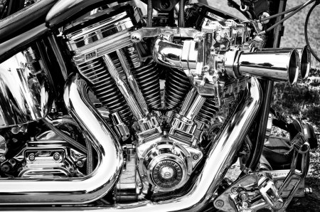 """PAAREN IM GLIEN, GERMANY - MAY 26: Twin Cam 96 engine, motorcycle Harley-Davidson FXDB Street Bob (Black and White), """"The oldtimer show"""" in MAFZ, May 26, 2012 in Paaren im Glien, Germany"""