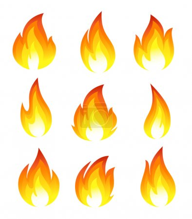 Illustration for Collection of fire icons - Royalty Free Image
