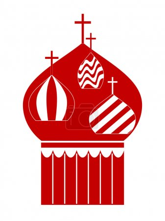 Domes of Orthodox Cathedral Temple. Vector-Illustration