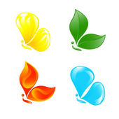 Butterfly as four elements Vector-Illustration
