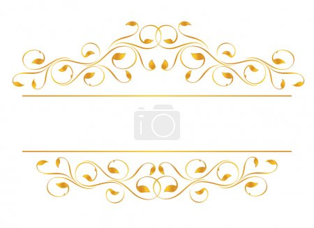 Vintage frame in gold. Symmetric inward. Vector-Illustration