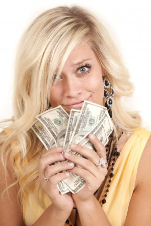 Greed woman hundreds