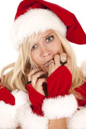 Photo pour Un gros plan de Mme Santa Clause avec une expulsion triste et confuse sur son visage . - image libre de droit