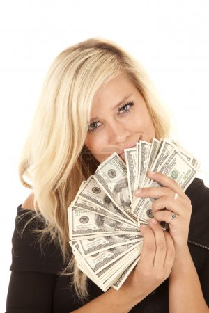 Woman black dress money happy