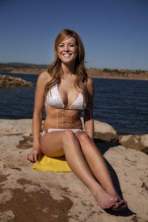 Swimsuit woman facing