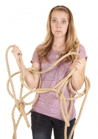 Girl funny face rope