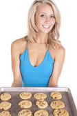 Blue top cookies smile