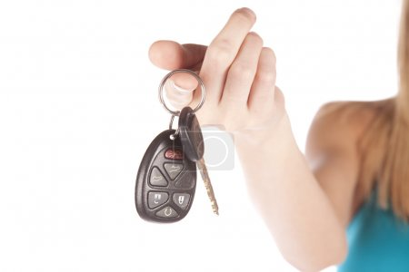Woman hand out keys
