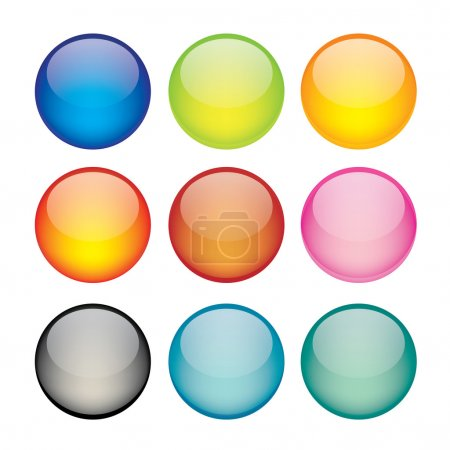 Illustration for Vector illustration of coloured glossy and shiny network sphere icon. - Royalty Free Image