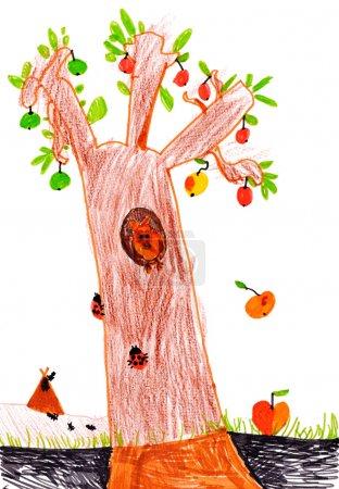 Foto de Dibujo infantil sobre el papel. vida del bosque - Imagen libre de derechos