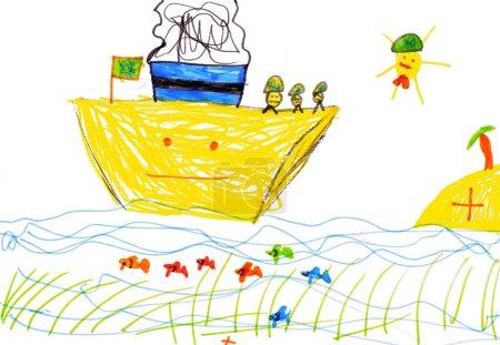 Foto de Dibujo de los niños. nave, pescados y mar - Imagen libre de derechos