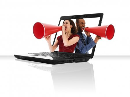Photo for A black laptop computer with a red megaphone - Royalty Free Image
