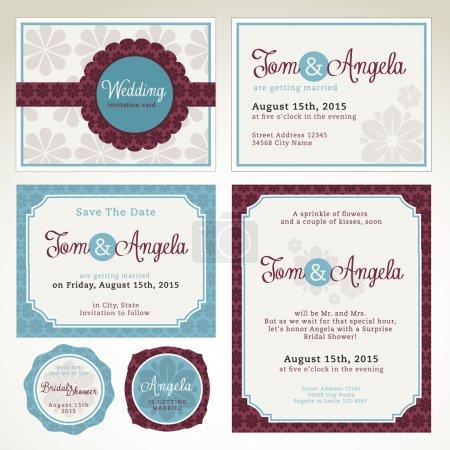 Photo pour Ensemble de modèles de cartes vectorielles mariage invitation - image libre de droit
