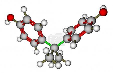 Foto de Optimizado la estructura molecular del Bisfenol a sobre un fondo blanco - Imagen libre de derechos