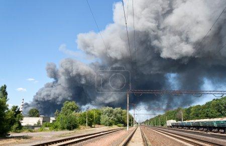 Fire near railway station Brovary
