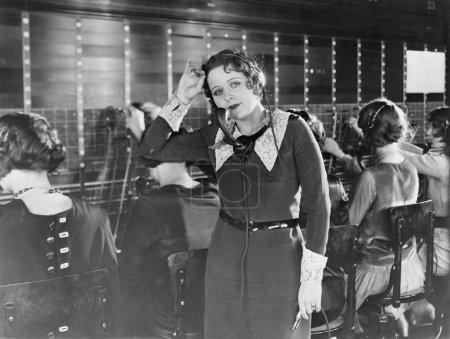 Weary telephone operator