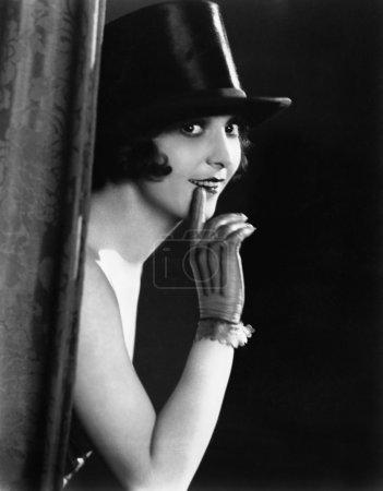 Portrait of woman in top hat