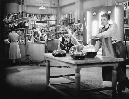 Young working in a chemistry lab...