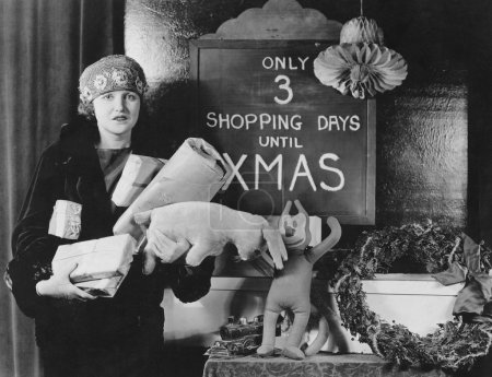 Foto de Female shopper y señal con el número de días de compras hasta Navidad - Imagen libre de derechos