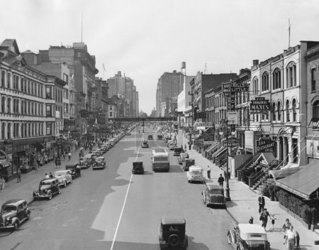 Cityscape of E. 86th Street in 1930s New York