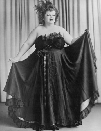 Woman wearing strapless evening gown