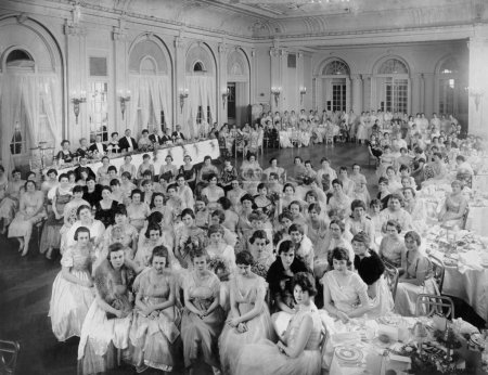 Large group of gathered in hall