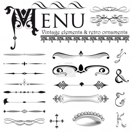 Illustration for Set of retro design elements vector eps 8 - Royalty Free Image