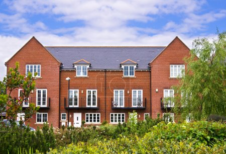 Photo for Apartment house made of red brick - Royalty Free Image