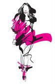Fashion model Sketch Hand-drawn Vector illustration