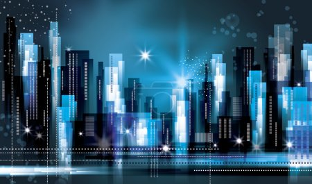 Illustration for City scene at night - Royalty Free Image