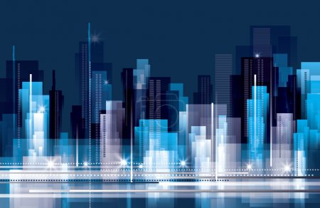 Illustration for Abstract City skyline at night - Royalty Free Image