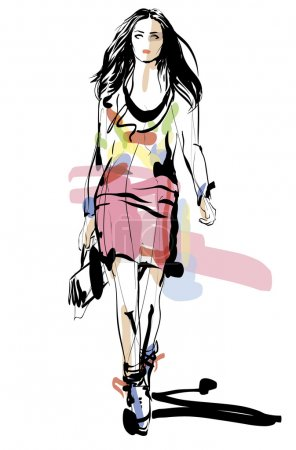 Illustration pour Modèle de mode. Femme. Croquis. Illustration vectorielle dessinée à la main - image libre de droit