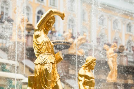 Grand Cascade Fountains At Peterhof Palace, St. Petersburg, Russia.